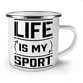 Life Is Sport Quote Funny NEW WhiteTea Coffee Enamel Mug10 oz | Wellcoda