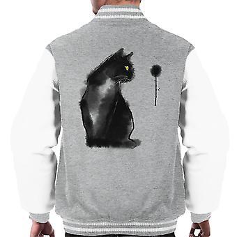Black Smudged Cat Men's Varsity Jacket