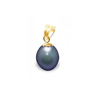 Pendant Pearl of Culture of water soft black and yellow gold 750/1000