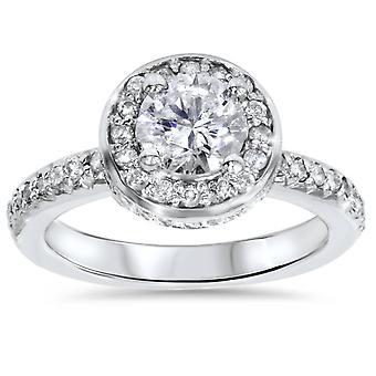 1 3/4ct Pave Halo Diamond Ring 14K White Gold