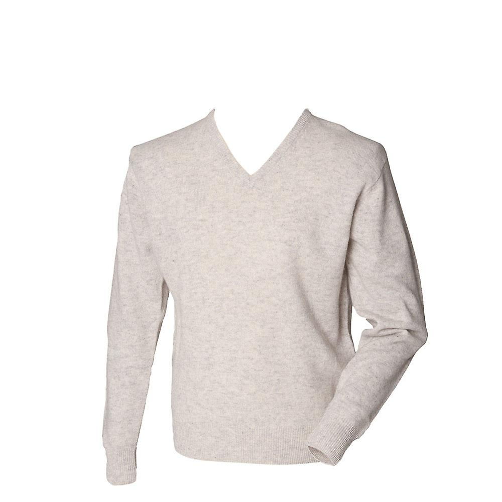 Henbury Mens Lambswool Long Sleeve Knitted V Neck Jumper