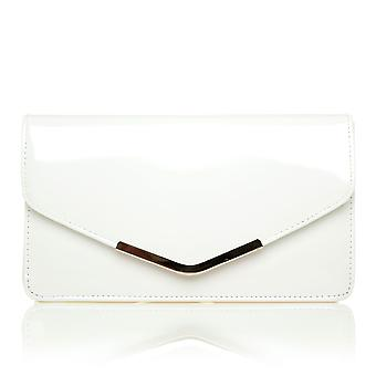 LUCKY White Patent Medium Size Clutch Bag