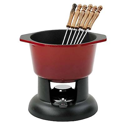 Ein Chasseur Cast Iron Fondue Set 6 Gabeln Red 11800104