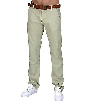 CHINO style K Jeans Regular Fit Chinos Trousers Beige Black with Belt