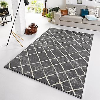 Designer velour carpet diamond grey cream