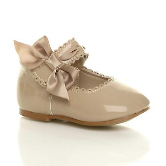 Ajvani baby girls infant ribbon bow bridal wedding bridesmaid christening party mary jane shoes