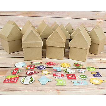 Paper Mache Christmas Advent House Set with Numbers to Decorate