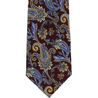Michelsons of London Paisley Wool Tie - Wine