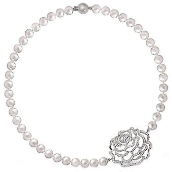 Fei Liu Rose Freshwater Pearl Short Necklace - Silver