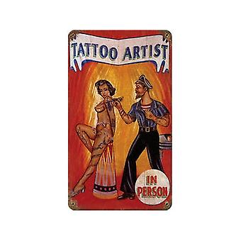 Татуировщик ржавые металлические подписать 360 X 205 мм