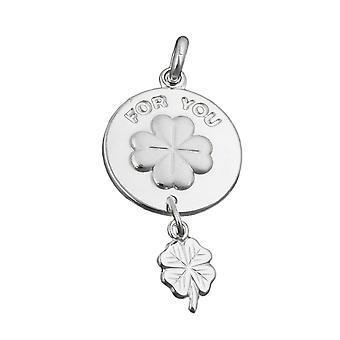 Ciondolo in argento intorno foglia di trifoglio per voi incisa argento 925 opaco lucido