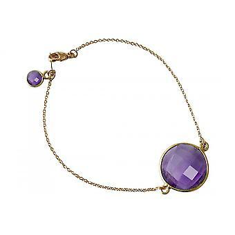 Bangle Gold Bracelet - - faceted Amethyst - purple - violet - - 19 cm