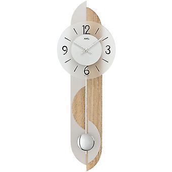 Wall clock quartz wall clock pendulum wooden rear wall mineral glass crystal