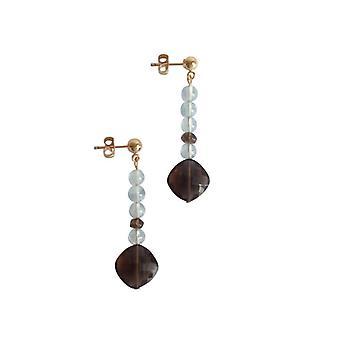 Edelsteen oorbellen, aquamarijn en smoky quartz oorbellen goud verguld