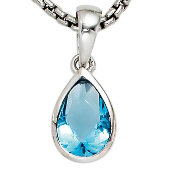 Rhodium plated 925 sterling silver 1 cubic zirconia blue trailer drops