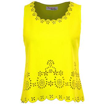 Women's Floral Cut Out Vest Ladies Sleeveless Scallop Hem Trim Summer Top