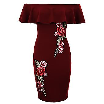 Ladies Off Shoulder Frill Ruffle Floral Flower Bardot Crepe Textured Bodycon Dress
