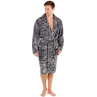 Harvey James Mens Long Sleeve Wrap Dressing Gown Nightwear Shawl Collar Robe