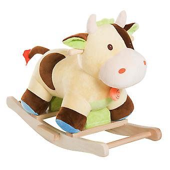 HOMCOM Plush Rocking Cow Animal Horse Adventure Ride on Toy Handmade Wooden Rocker Baby Gift