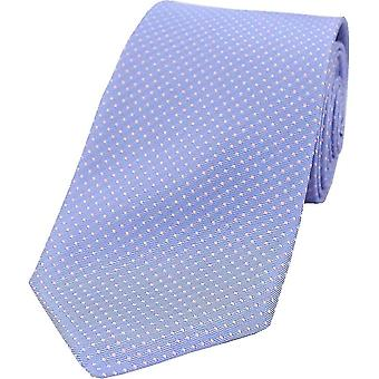 David Van Hagen Pin Dot Silk Tie - Sky Blue/Pink