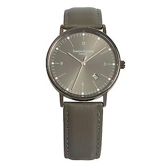 Simon Carter Gunmetal Bevelled Window Watch - Grey