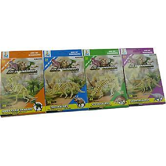 Puzzel 3D karton dinosaurusskelet assort