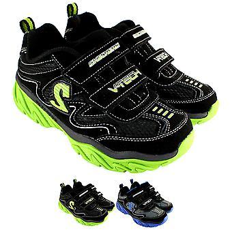 Unisex barna Skechers fillete Dox dobbel Velcro lav profil joggesko UK 9.5-6