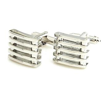 Elegant Silver 5 Row Lined Barrel Stud Style Cufflinks Wedding Novelty Cuff Link