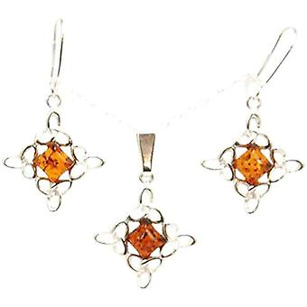 Amber Diamond Shape Pendant & Earring In 925 Silver