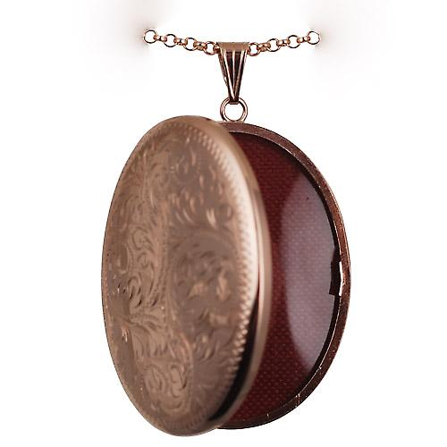 9ct Rose Gold 45x35mm hand engraved oval Locket with belcher Chain 16 inches Only Suitable for Children