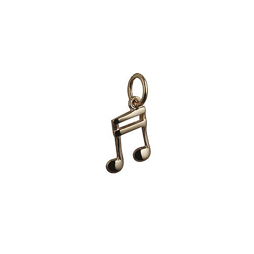 9ct Gold 11x9mm Semi Quaver musical note Charm or Pendant