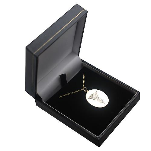 9ct Gold 27x21mm oval hand engraved medical alarm Disc with a cable Chain 16 inches Only Suitable for Children
