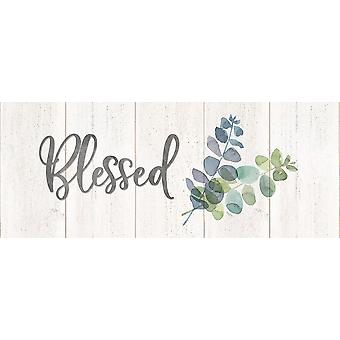 Natural Inspiration Blue Blessings Sign Poster Print by Tara Reed