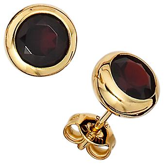 Garnet Earrings 375 Gold Yellow Gold 2 grenade red gold earrings Garnet jewelry
