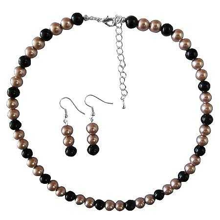 Wedding Gift Jewelry Champagne & Black Pearls Cheap Jewelry