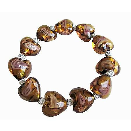 Stretchable Bracelet Millefiori Brown Heart Beaded Bali Silver Spacer