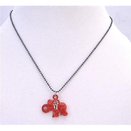 Elephant Pendant Choker Necklace Red Enamel Elephant w/ Cubic Zircon