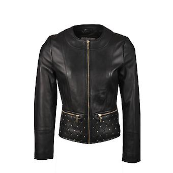 Motherby Collarless Leather Jacket in Black
