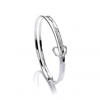Cavendish French Silver Double Band Organic Heart Bangle