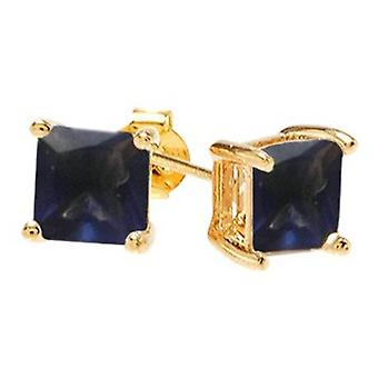 Ah! Jewellery Square Sapphire Crystals From Swarovski. Gold Filled, Stamped GL