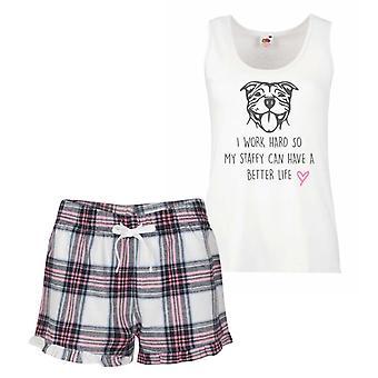 Staffy I Work Hard So My Staffy Can Have A Better Life Pink Tartan Pyjamas