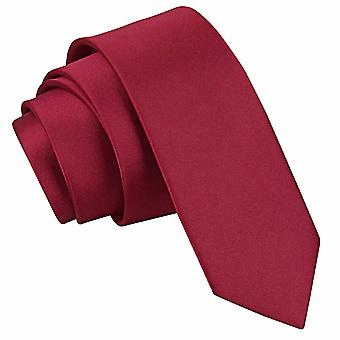 Burgund-Plain Satin schmaler Krawatte