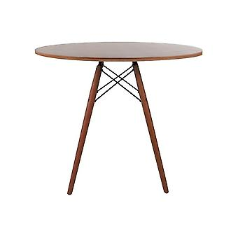Fusion Living Eiffel Inspired Medium Walnut Circular Dining Table With Walnut Wood Legs