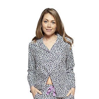 Cyberjammies 4185 Women's Laura Grey Mix Animal Print Cotton Pyjama Top