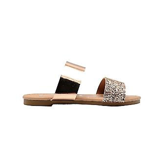 bebe Girls Fashion Sandals Little Kid Double Band Summer Slip On Flats With Glitter
