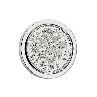 Mirror Polished 1970 Sixpence Lapel Pin | 1970 anniversary, 49th birthday