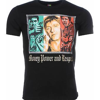 T-shirt-Scarface Money Power Respect Print-Black