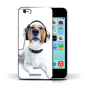 STUFF4 Phone Case / Cover for Apple iPhone 5C / Chillin Headphone Dog Design / Funny Animals Collection