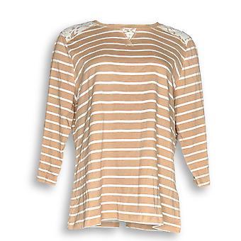 Denim & Co. Women's Top Perfect Jersey 3/4 Sleeve Striped Beige A252687