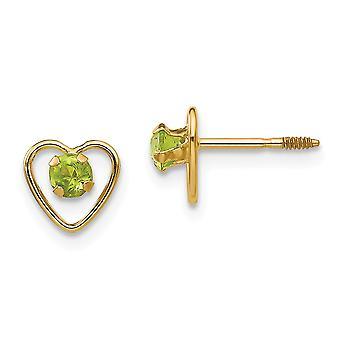 14k Yellow Gold Polished Screw back Post Earrings 3mm Peridot Heart Earrings - Measures 6x6mm